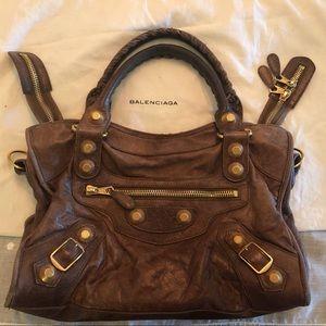 Balenciaga Giant City Bag in Distressed Brown